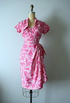 1950s Hawaiian sarong dress . vintage 50s novelty by BlueFennel