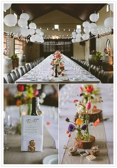 hanging lanterns and twinkle lights and vibrant floral centerpieces
