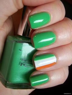 green week irish flags nail art