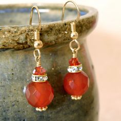 Carnelian Earrings Gold Filled Orange Tangerine by fineheart