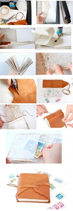 Super Ideas For Travel Journal Cover Diy Book Binding Handmade Journals, Handmade Books, Handmade Notebook, Journal En Cuir, Leather Travel Journal, Leather Notebook, Diy Leather Bound Journal, Do It Yourself Inspiration, Buch Design
