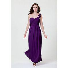 Floor-length Chiffon Bridesmaid Dress - Daffodil / Blushing Pink / Lilac / Grape / White / Silver / Fuchsia / Black Sheath/ColumnOne – USD $ 49.99