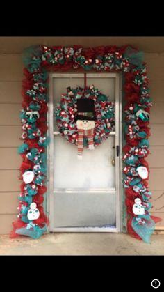 Aqua Christmas, Christmas Wreaths, Ornament Wreath, Ornaments, Deco Mesh Garland, Holiday Decor, Red, Christmas Decorations, Ornament