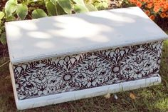 "Check out the stenciling on this blanket box by New House, New Home, New Life! It was stenciled with General Finishes Java Gel Stain and entered in the September ""geometric design"" Fab Furniture Flippin' Contest that GF was honored to sponsor."
