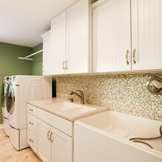 Laundry room with dog bathing station