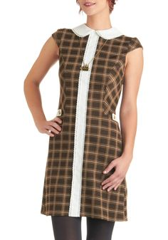 Illustrate for Me Dress - Brown, White, Plaid, Peter Pan Collar, Work, Sheath / Shift, Cap Sleeves, Fall, Tan / Cream, Vintage Inspired, 60s, Mid-length, Lace, Trim, Casual