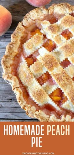 Looking for easy peach pie recipes you can make as Thanksgiving dessert? Make this Peach Pie. From the beautiful lattice pie crust to the peach pie filling with cinnamon, nutmeg, and vanilla, this is one perfect peach pie! Perfect dessert for Thanksgiving Easy Peach Pie, Easy Pie, Peach Pies, Dessert Parfait, Pie Dessert, Köstliche Desserts, Delicious Desserts, Dessert Recipes, Food Cakes
