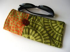 Sunglasses Case in Olive Green and Orange by thesewingmachine