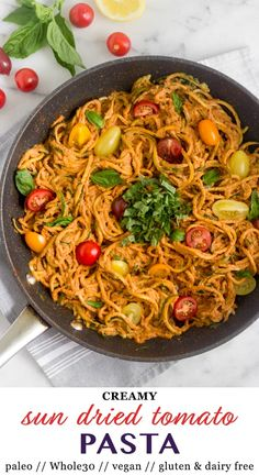 Use up your summer squash with this vegan, paleo, and Whole30 Healthy Creamy Sun Dried Tomato Pasta. Zucchini noodles take the place of regular pasta and the sauce is super creamy thanks to cashews! An easy low carb summer dish. - Eat the Gains #whole30 #zucchininoodles #spiralizer #vegan #paleo #glutenfree #lowcarb Dairy Free Recipes, Real Food Recipes, Vegetarian Recipes, Healthy Recipes, Fast Recipes, Healthy Foods, Yummy Recipes, Sun Dried Tomato Sauce, Dried Tomatoes