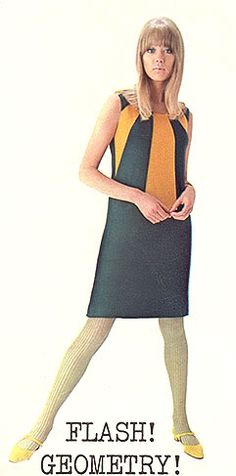 Pattie Boyd in sleeveless dress by Foale and Tuffin