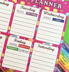 Activity Planner sheets with stickers of homework, vacation, birthday, class. #activityplannersheet #personalised#stationery #personalisedstationery #cupikdesign #india#school #kids #butterfly #onlinestationery #sticker#homework #classes #vacation #birthday #planner #candies