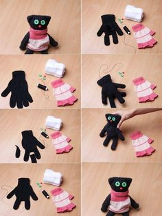 Sock Animals Lots of Fabulous Free Patterns A fun DIY way to use up all of these silly, inexpensive gloves :)Madeleine P.We've put together lots of Sock Animals that you are going to love to make. Check out all the free patterns an Sock Crafts, Cute Crafts, Fabric Crafts, Diy And Crafts, Decor Crafts, Sewing Toys, Sewing Crafts, Sewing Projects, Craft Projects