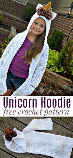 Child size unicorn hoodie, free crochet pattern!
