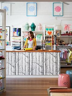 Image result for wallpapered shop counter