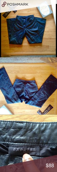 😎Vintage Express black genuine leather pants Vintage Express black leather pants.. In great condition.. Mid rise flare pants.. So hip and stylish can be worn in so many different styles.. Vintage so may or may hot fit true to size see measurements above.. Vintage Pants Boot Cut & Flare
