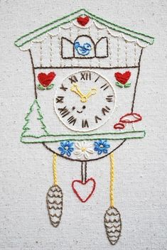 Cuckoo - Woodland Clock Hand Embroidery Pattern