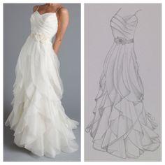 Custom Wedding Gown Sketch - Wedding Keepsake - Wedding Gown Art - Vintage Wedding Decor - Wedding Gift Idea - Unique Bridal Shower Gift on Etsy, $34.95