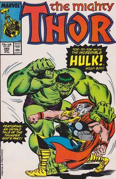 The Mighty Thor  v1 #385 / Erik Larsen Pencils And Stan Lee Script! Having destroyed half a forest just west of the Mississippi River, the Hulk sleeps. In New York, Thor is told of the Hulk's rampage and flies to stop the mindless behemoth.   #thor #hulk #stanlee #comicbooks #marvelcomics
