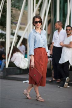 Button-down shirt, midi skirt and flat sandals