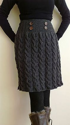 For Winter Twist Skirt Gauge: 15 sts & 28 rows = 4 inches in Stockinette Stitch Needle size US 8 - mm US 9 - mm [WW] Crochet Skirts, Knit Skirt, Crochet Clothes, Diy Clothes, Knit Dress, Knit Crochet, Crochet Winter, Barbie Clothes, Dress Skirt