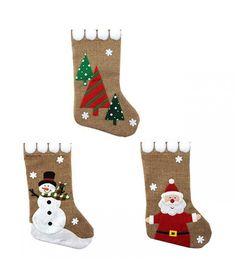 Hessian Stocking with Pom Pom - - Christmas Stockings (each) Christmas Photo Props, Christmas Images, Christmas Home, Christmas Ideas, Dancing Santa, Felt Christmas Stockings, Santa Costume, Tree Centerpieces, Foil Paper
