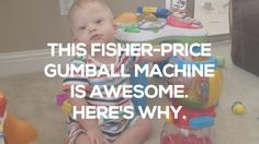 Toy Review: Fisher-Price Laugh And Learn Count And Color Gumball Machine // Check out how this Gum Ball machine can help your child develop their fine motor skills! Please be sure to re-pin!