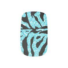Light Blue Glitter Zebra Print Minx Fingernail Decals