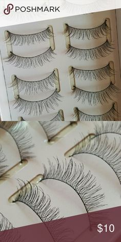 False Lashes (style712) 9 pairs of false lashes.  They're super light and natural looking.  The best part is they're reusable!  Once you adjust the length to match your eyes perfectly, you can use them all the time.  You can top them with some mascara and no one will know you're even wearing falsies! Makeup False Eyelashes