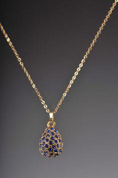 Necklace-Faberge Egg Gold Pendant black Crystals