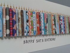 This birthday card has 50 hand rolled paper candles on it with glittering flames. It can also be made in ages The card can be personalised by having a name stamped on the front which is free of charge. To request this you must add a note to seller 50th Birthday Party Decorations, 50th Birthday Cards, Happy 50th Birthday, Mother Birthday, Birthday Crafts, Birthday Candles, Hand Gestempelt, Candle Craft, Color Card