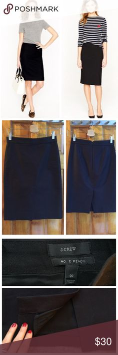 """J. Crew Pencil Skirt Size00 Form-fitting Excellent J. Crew """"No. 2 Pencil"""" Skirt Size00 // Waist:13.5"""" Length: 22"""" // Form-fitting fabric // Fully lined // Reasonable back slit// In excellent condition // A staple piece for every wardrobe!! // 15% off on bundles I ship same-day from pet/smoke-free home Buy with confidence. I am a top seller with close to 400 5-star ratings and A LOT of love notes! Check them out. 😊😎 J. Crew Skirts Pencil"""