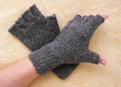 HAND KNIT Half Finger GLOVES in Soft Peruvian Wool by ATIdesign