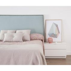 Serenity and Rose Quartz Style /Leah Home Bedroom, Bedroom Decor, Bedrooms, Romantic Room, Pink Room, New Beds, Upholstered Beds, Bed Furniture, Home Staging
