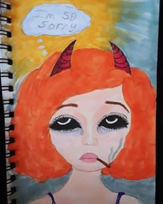 """6 Likes, 2 Comments - daydream (@diligentdaydreamer_) on Instagram: """"I'm terrible, and I'm sorry. #drawing #markers #devilgirl #deepthinking #mixedmedia"""""""
