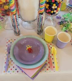 """Alycia Nichols, Tablescapes at Table Twenty-One, www.tabletwentyone.wordpress.com, """"Confectionery Christmas"""" – single place setting. Use paper plates and plastic for kids settings. candy pastels"""