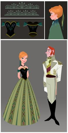 Anna and Hans at the ball, concept art. Costume Design in Animation - Disney's Frozen - Tyranny of Style