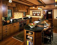 Craftsman Style Home Interior Designs Craftsman style kitchen design have similarity with mission style kitchen decor which dominated with wood material. Craftsman style kitchen design must completely represent a craftsman house interi… Mission Style Kitchens, Craftsman Style Kitchens, Craftsman Home Interiors, Bungalow Kitchen, Craftsman Interior, Craftsman Style House Plans, Home Interior Design, Home Kitchens, Bungalow Decor