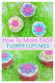 Learn how to make easy flower cupcakes that the kids will find simple and easy. They can be creative with their decorating skills to make some beautiful cupcakes. They would be special to make for Mother's day, or birthday's, or just to enjoy the start of Spring. #Flowercupcakes #Kids #Learnhowtomake #Easter