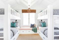 The homeowners wanted a fun retreat to house all their grandkids, and four built-in bunk beds proved the perfect solution. Built in bunk beds. Home decor and decorating ideas. Bunk Bed Rooms, Bunk Beds Built In, Cool Bunk Beds, Kids Bunk Beds, Build In Bunk Beds, Built In Beds For Kids, Full Size Bunk Beds, Adult Bunk Beds, Custom Bunk Beds