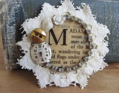 So darling! Shabby Chic Lace Assemblage Brooch M monogram by whybecause, $21.00