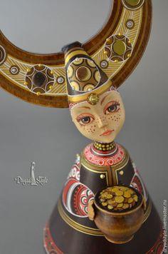 Коллекционные куклы ручной работы. Ярмарка Мастеров - ручная работа. Купить Златка.Куколка-оберег. Handmade. Разноцветный, дерево