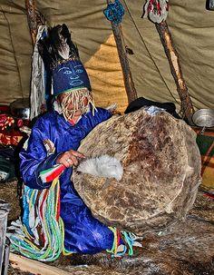 Tsaatan Shaman. This female shaman is one of the last 3 remaining powerfull (big) shamans of the reindeer herders, northern Khovsgol aimag, Mongolia