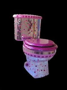 Barbie Pink Mosaic Toilet - - Whether this mosaic toilet appeals to you or it doesn't, you gotta give its maker props. All those pieces of mirror, the pink grout, the naked lady flush handle? It's one impressive crapper. Pink Toilet, Toilet Art, Toilet Bowl, Toilet Paper, Pink Love, Pretty In Pink, Vintage Pink, Cool Toilets, Wc Sitz