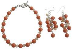 Swarovski Coral Pearl Bracelet Peach Crystals Grape Earrings Feminine Pearl Jewelry Bracelet Earrings Set