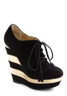ModCloth  black & white striped wedge bootie