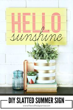 DIY Slatted Summer Sign by The Crafted Sparrow