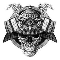 Samurai Skull Art Print by BIOWORKZFREE SHIPPING WORLDWIDE ENDS...