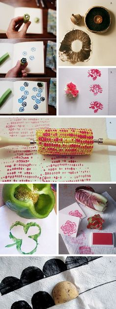 1. Okra stamp via Tend 2. Mushroom stamp via Martha Stewart 3. Cauliflower stamp via Little Treasures 4. Corn stamp, source unknown 5. Pepper stamp via Blackle Mag 6. Treviso radicchio stamp via Ma…