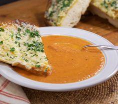Roasted Garlic Tomato Soup with Cheesy Garlic Bread