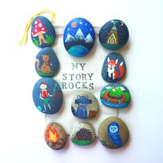 Story Stones and Painted Rocks / Woodland Animals and Camping Game and Toy